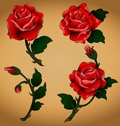 Oldschool tattoo roses vector