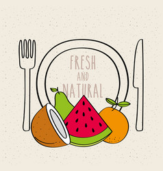 plate fork and knife fresh and natural fruit vector image