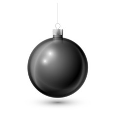 realistic black christmas ball with silver ribbon vector image