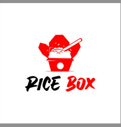 rice box logo pack meal vector image