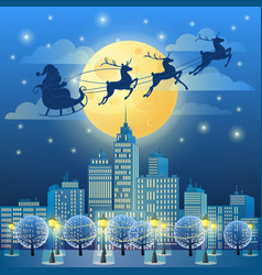 santa sleigh in moonlight year vector image