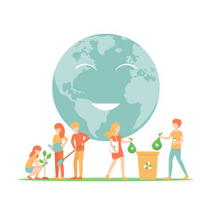 Save planet sort garbage plant trees vector
