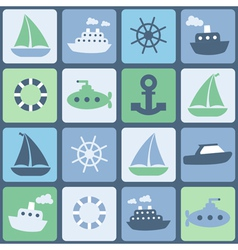 Sea transport seamless in retro colors vector