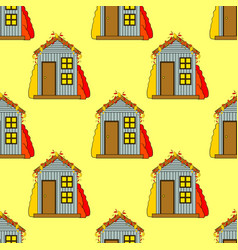Seamless pattern of house in vector