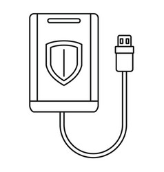 Secured external hd icon outline style vector