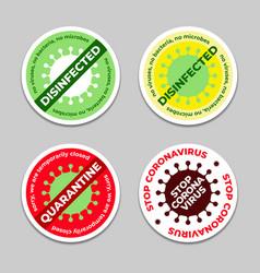 Set disinfection stickers with coronavirus vector