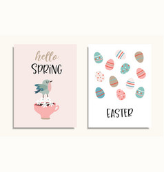 set easter greeting cards invitations vector image