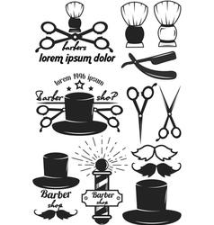 Set logos labels badges abarber shop vector image