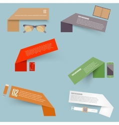 Set of blank rectangle labels with acute vector image