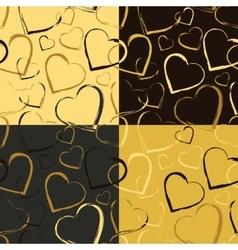 Set of Golden Hearts Seamless patterns vector