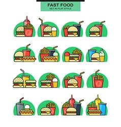 Sets icons burgers with drinks potato fries and vector