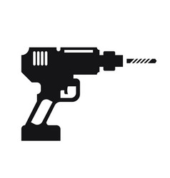 Silhouette electric drill tool icon vector