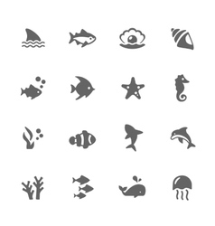 Simple Marine Life Icons vector image