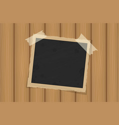 Square old vintage frame template on sticky tape vector