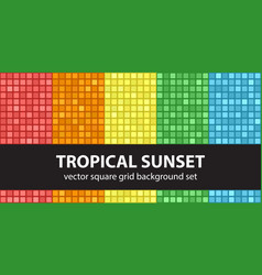 square pattern set tropical sunset seamless tile vector image
