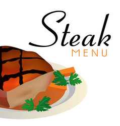 steak menu steak background image vector image