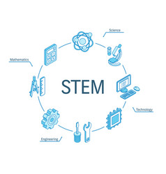 stem isometric concept connected line 3d icons vector image