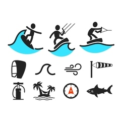 Summer water sport pictograms vector image