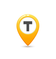 taxi service flat style yellow taxi icon map pin vector image