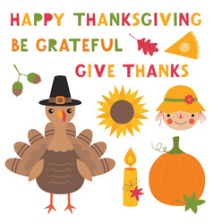 thanksgiving set a turkey a pumpkin a vector image