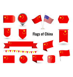 the flag china big set icons and symbols vector image