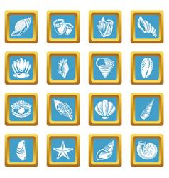tropical sea shell icons set sapphirine square vector image