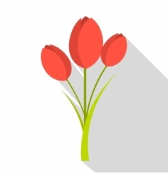 Tulips icon flat style vector