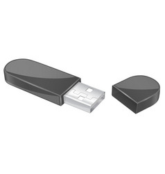 usb flash drive with cap black memory stick vector image