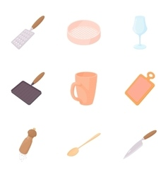 Utensils for eating icons set cartoon style vector
