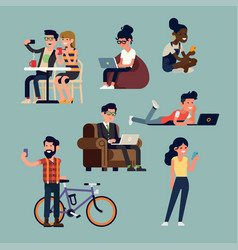 Various phone and mobile devices users in vector