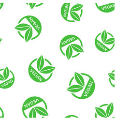vegan label badge icon seamless pattern vector image