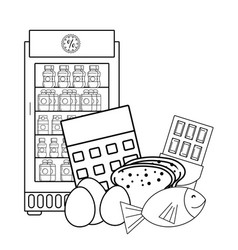 vending machine food black and white vector image