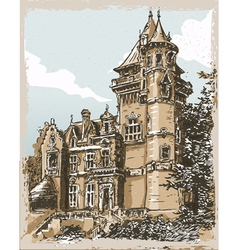 vintage hand drawn view old castle in belgium vector image