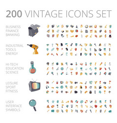 Vintage icons set for business and technology vector