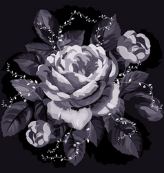 vintage monochrome rose with leaves on black backg vector image