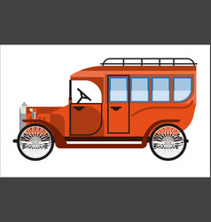 vintage orange old mini bus isolated on white vector image