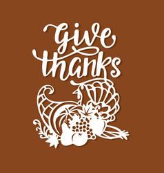 vintage thanksgiving cornucopia turkey harvest vector image
