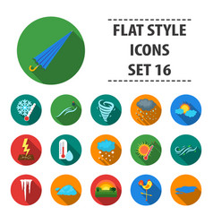 Weather set icons in flat style big collection of vector