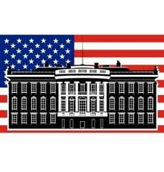 White house and the us flag-1 vector