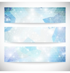 Winter backgrounds set with snowflakes Abstract vector image