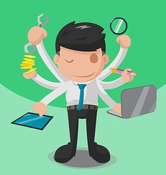 Worker Multitask Business Finance Hand vector image