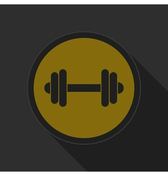 Yellow round button with black dumbbell icon vector