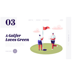 young golfers couple playing golf website vector image