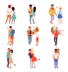 Young men and women characters in love hugging set vector