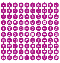 100 conference icons hexagon violet vector