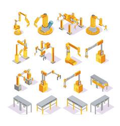 conveyor machines isometric set vector image vector image