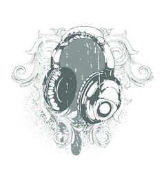 headphones emblem vector image