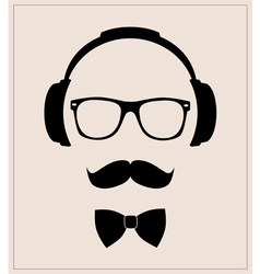 Hipster style set bowtie glasses mustaches vector image