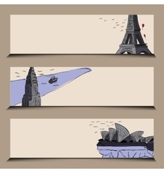 horizontal banner stylized famous city sights vector image
