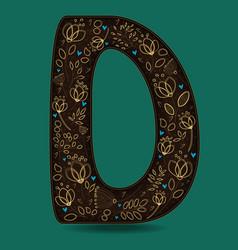letter d with golden floral decor vector image
